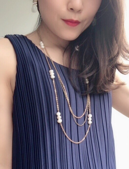 Tory Three Layered Pearl Necklace