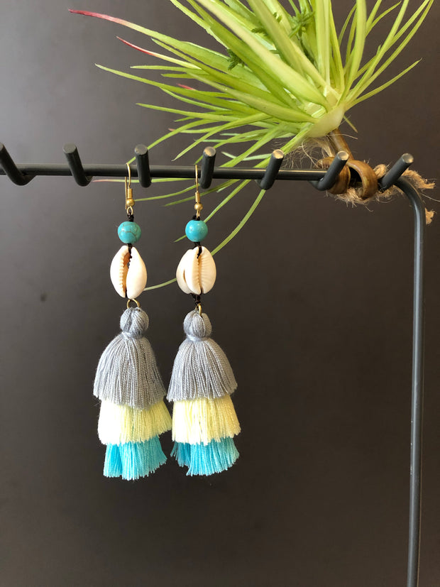Anaya Triple Layered Tassel Shell Earrings (White Shells+Grey, Cream, Blue Tassel)
