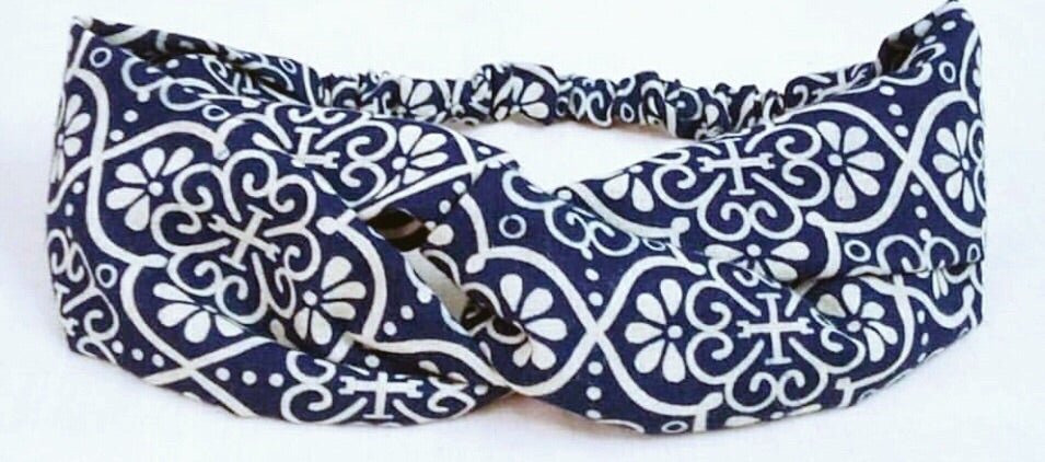 Indigo Dyed Turban Headband- Vintage Flower