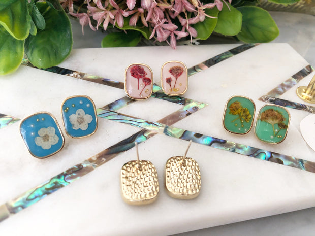 Botanica Collection: Zuri Real Flower Earrings (in stock)