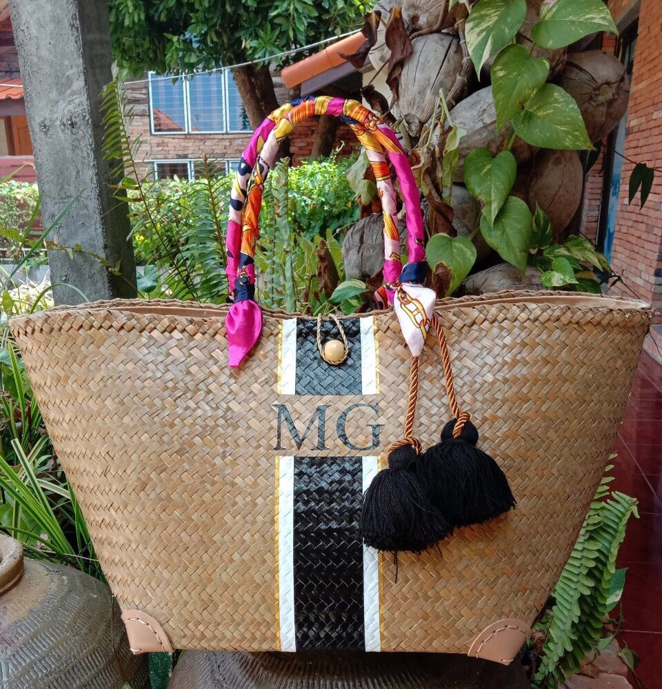 Dori Personalised Wicker Bag - XL Tote Without Accessories