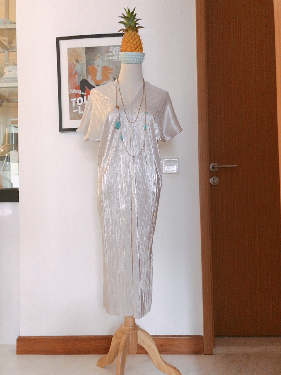 Limited Edition Serene Pleated Dress (Metallic Light Brown-10% off)