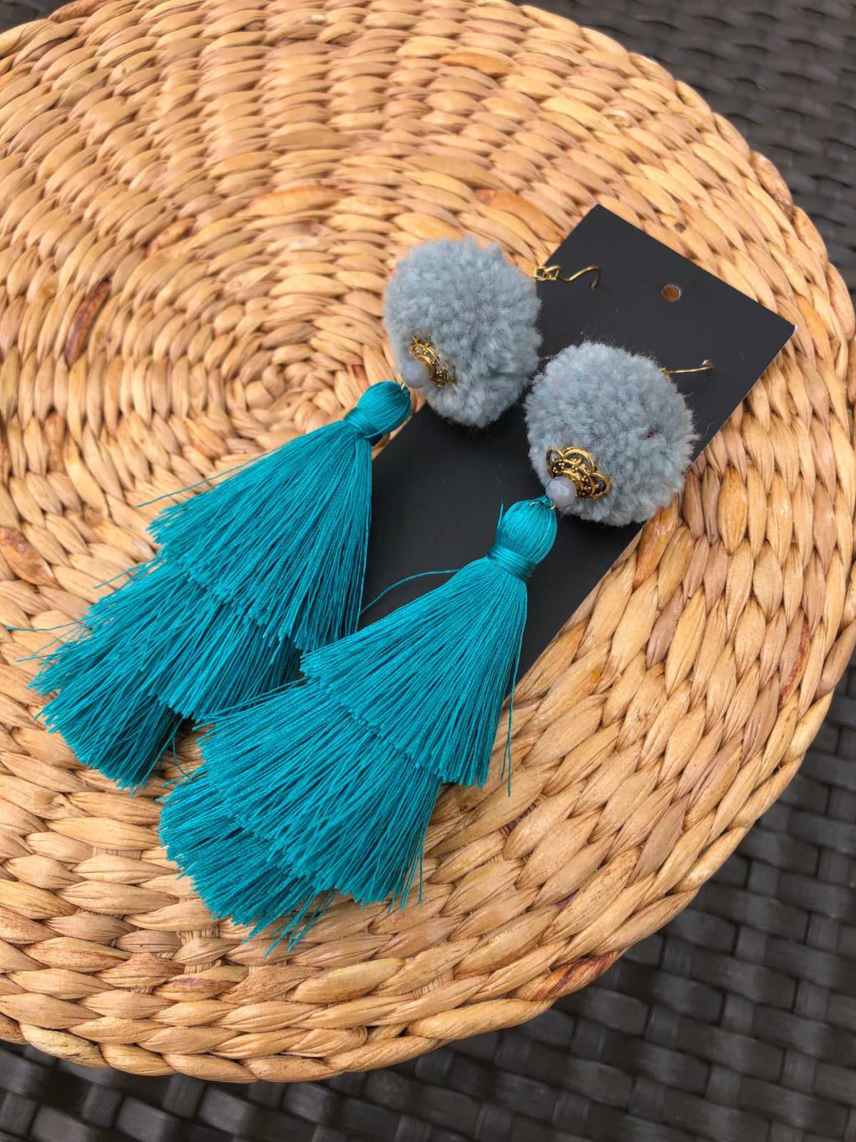 Warin Three Tiers Earrings Size M (Grey Pom +Turquoise Tassel)
