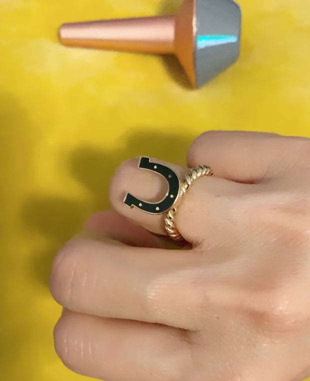 Lucky Horse Shoe Ring (free size)