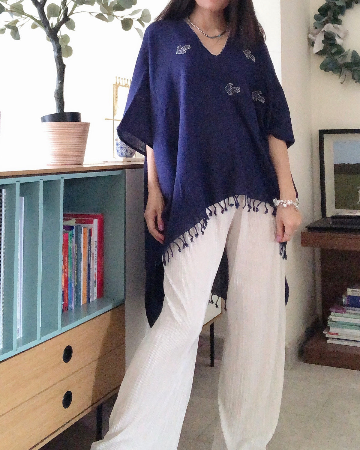 Ready Stock Embroidered Birds Asymmetrical Top