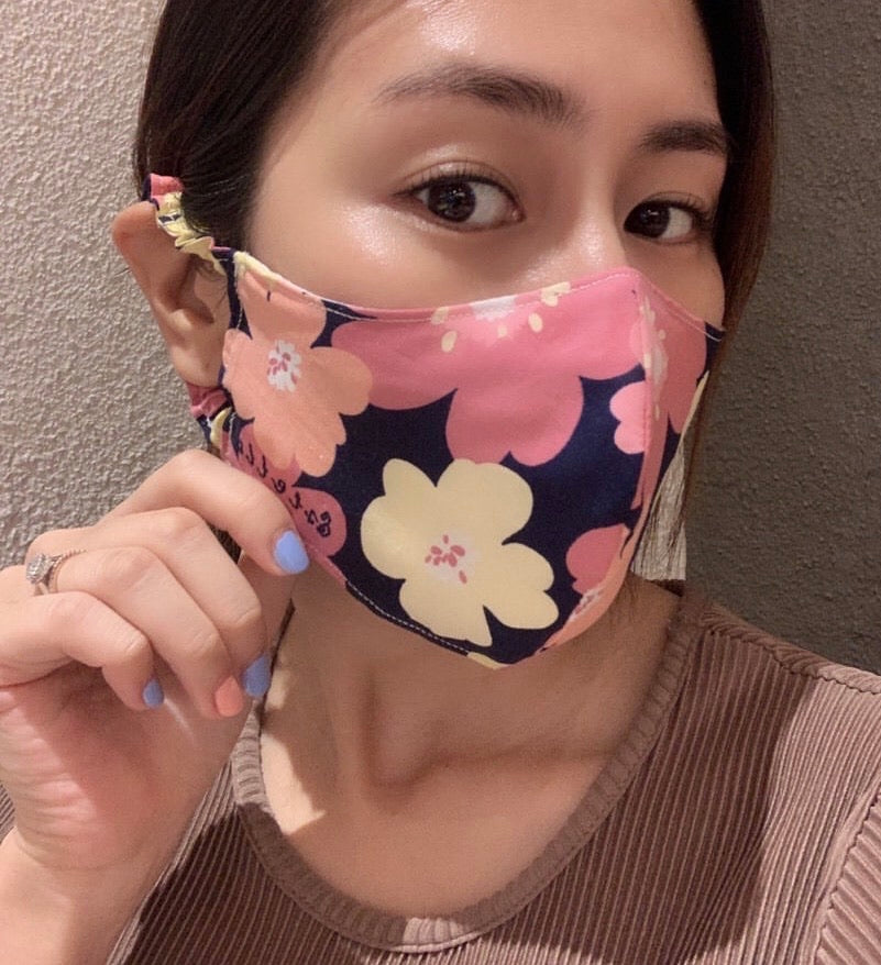 (Pre-orders) MEW Sling or Soft Elastic Ear Loops 3D Face Mask With Name Embroidery - FLORAL Print
