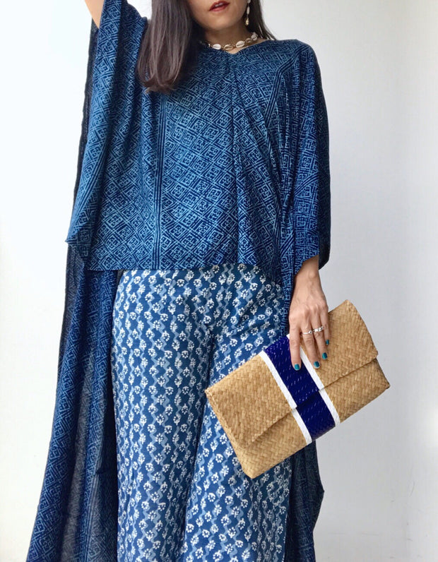 Kanta Woodblock Indigo Dyed Asymmetrical Top