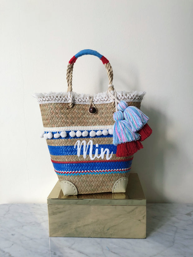 [We help you design] IBIZA EMBELLISHED TOTE - BRIGHT BLUE