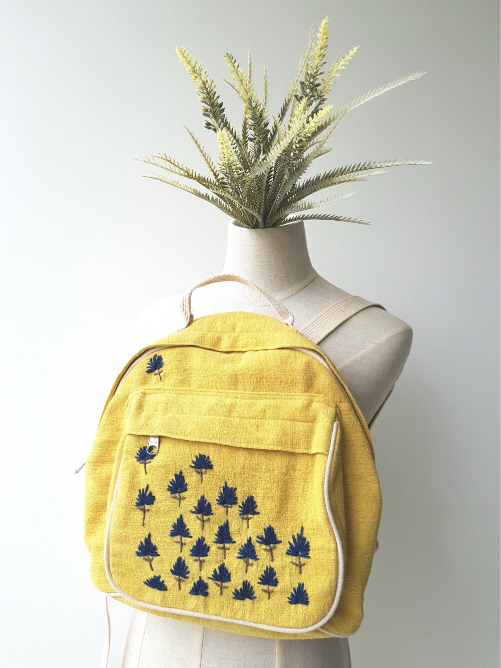 Nami Hand Embroidered Bagpack (Yellow Fabric w Blue Stitches)