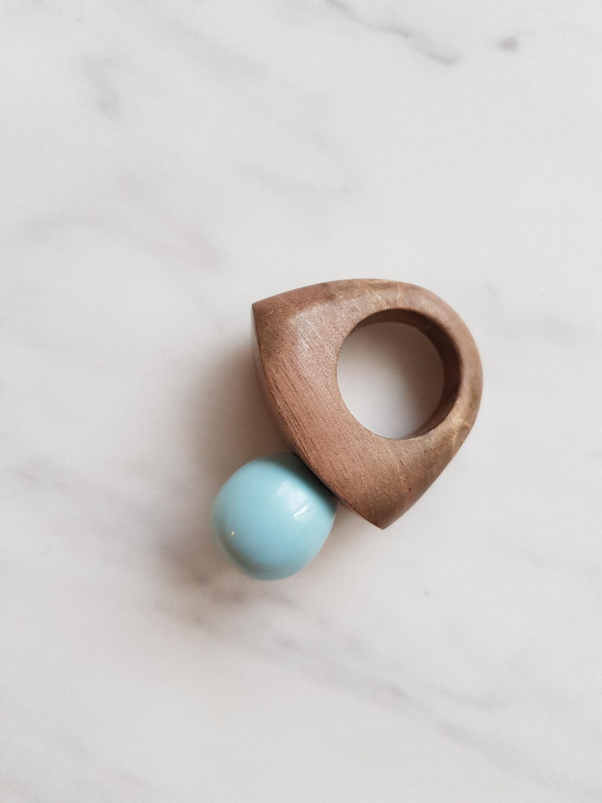 Oh Blue Statement Wood Ring