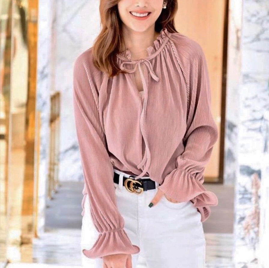 Lisa Long Sleeve Pleated Top