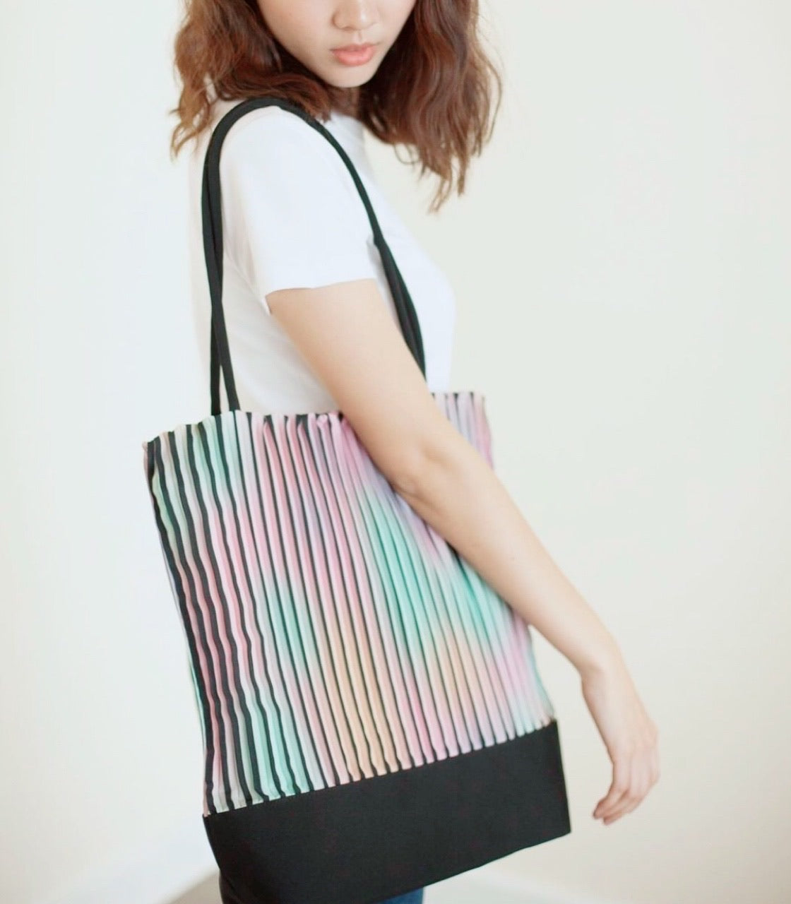 Yoda Rainbow Pleated Tote