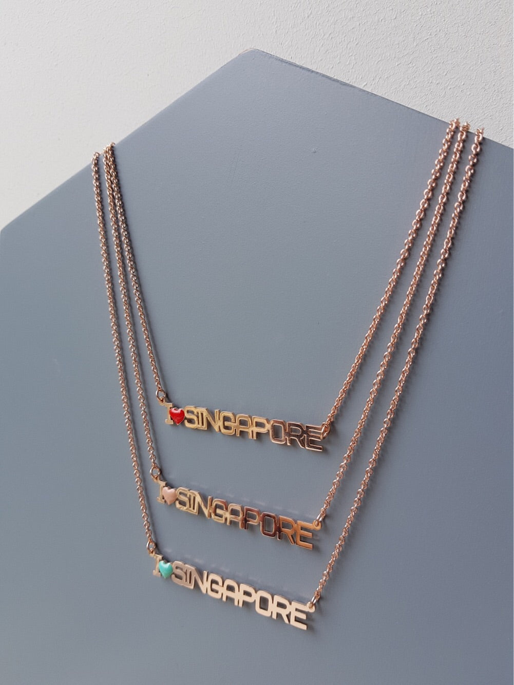 I Love Singapore Necklace (Pink Gold Plating)