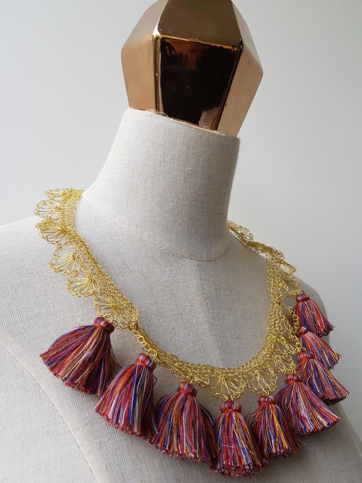 Louisa Crochet Brass Necklace (Mixed Colours-Red, Blue, Orange, White)