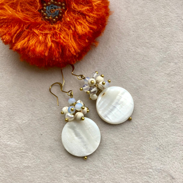Klara Round Mother of Pearl Earrings