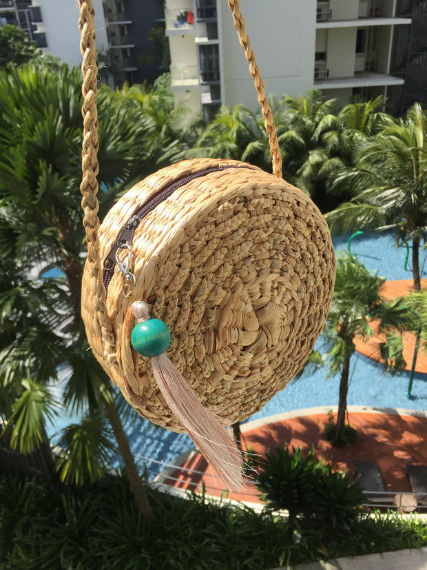 Round Straw Bag New Design (with tassels)