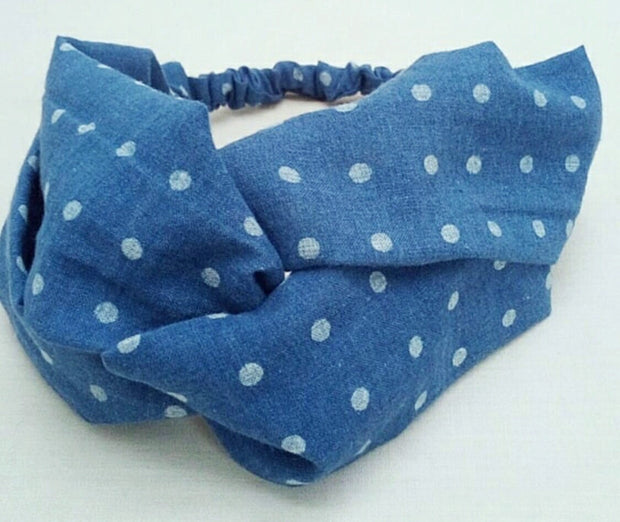 Indigo Dyed Turban Headband- Polka Dots