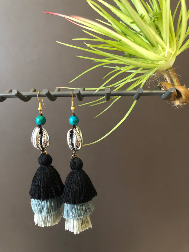 Anaya Triple Layered Tassel Shell Earrings (Silver+Grey Black Tassel- In Stock)