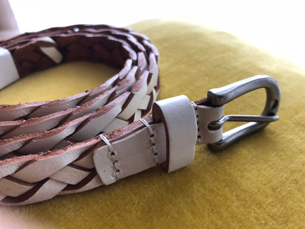 Woven Leather Belt - Cream