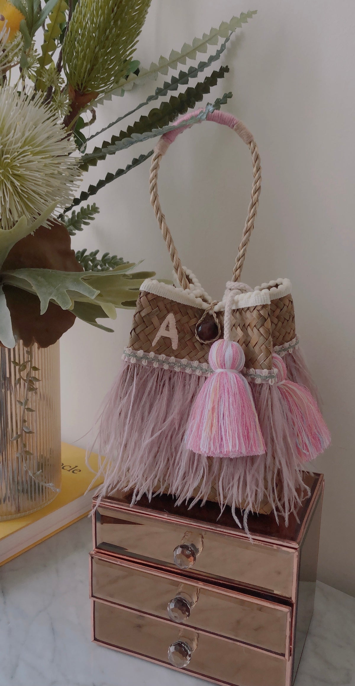 "PRE-ORDERS (We help you design) Fiji Pink Feathers Bag - Enter code ""happybag"" to get 10% off"