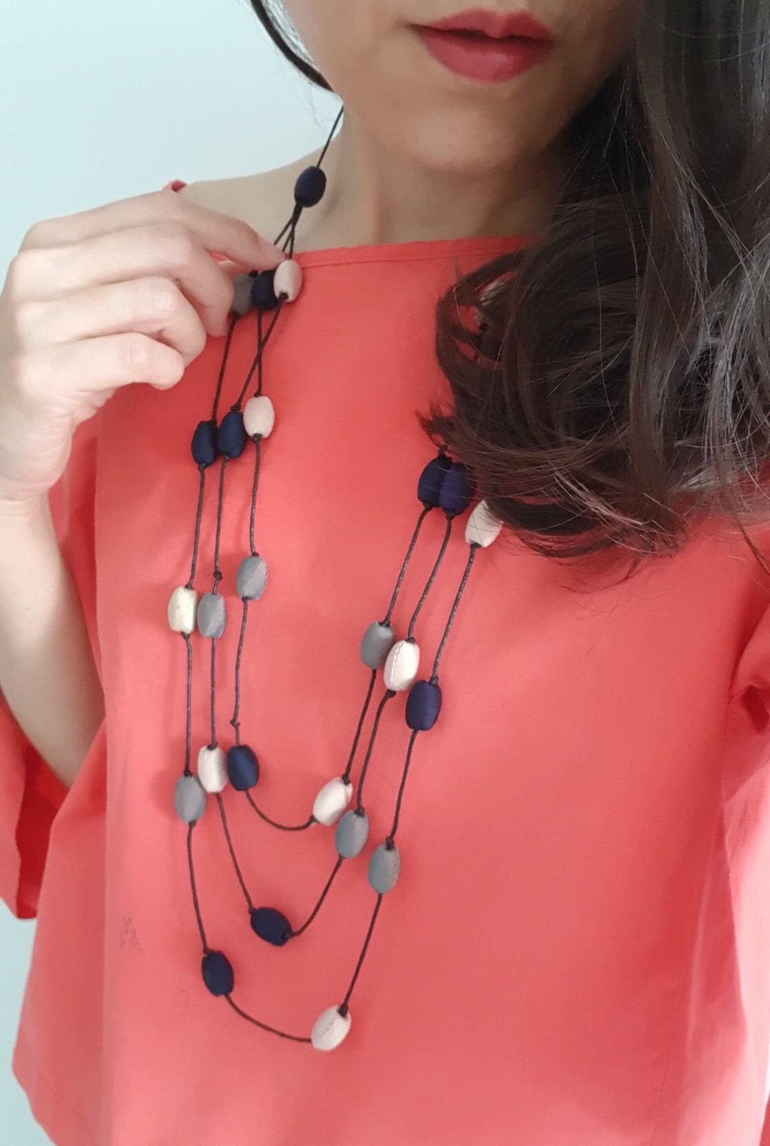 Leela Silk Necklace- Dark Blue+Light Brown+Grey