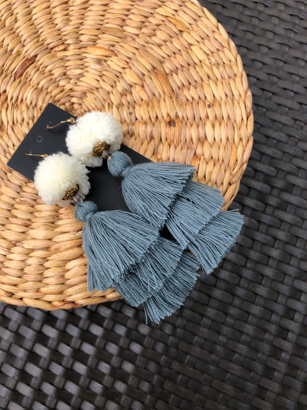 Warin Three Tiers Earrings Size L (Cream Pom + Grey Tassel 20% OFF)