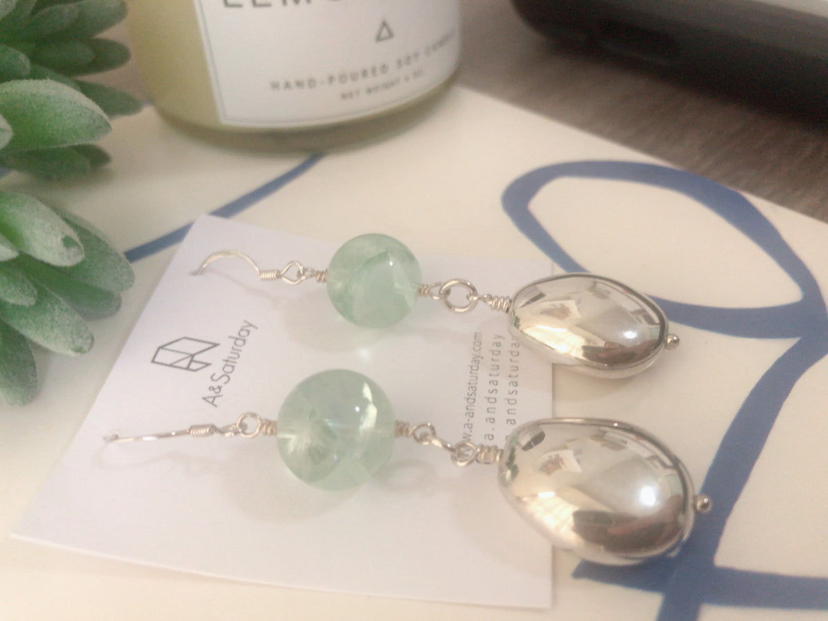 Green Bubble Gum Silver Earrings
