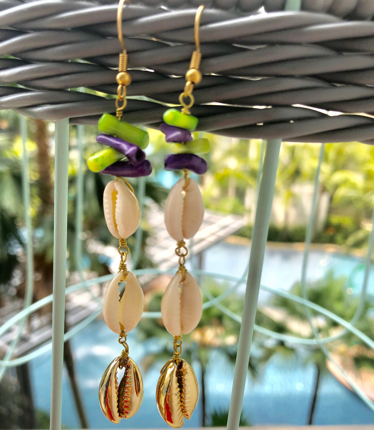Dangling Pinna Shell Coral Earrings (In Stock)