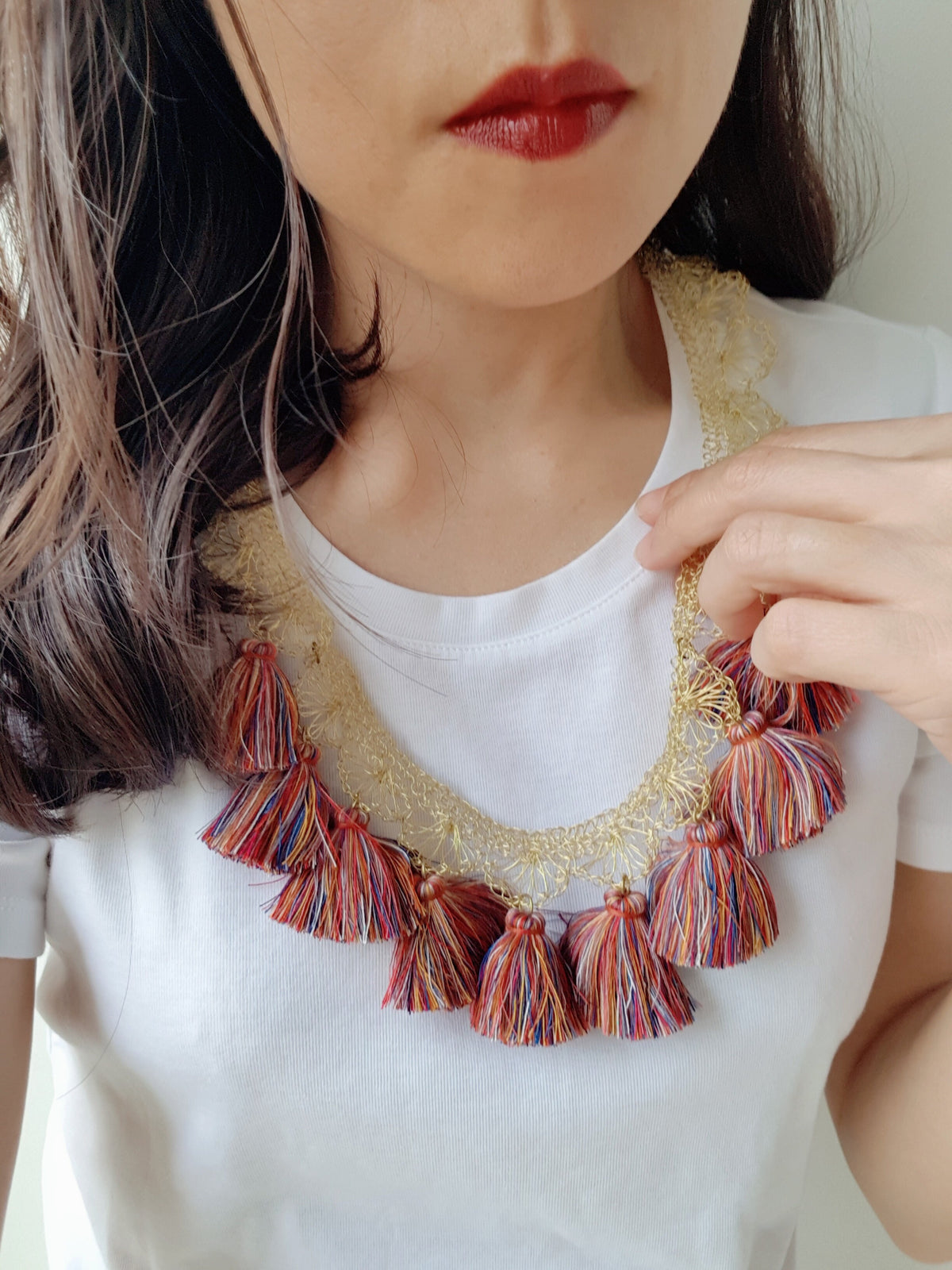 Louisa Crochet Brass Necklace (Mixed Colours-Gold, Pink, Green)
