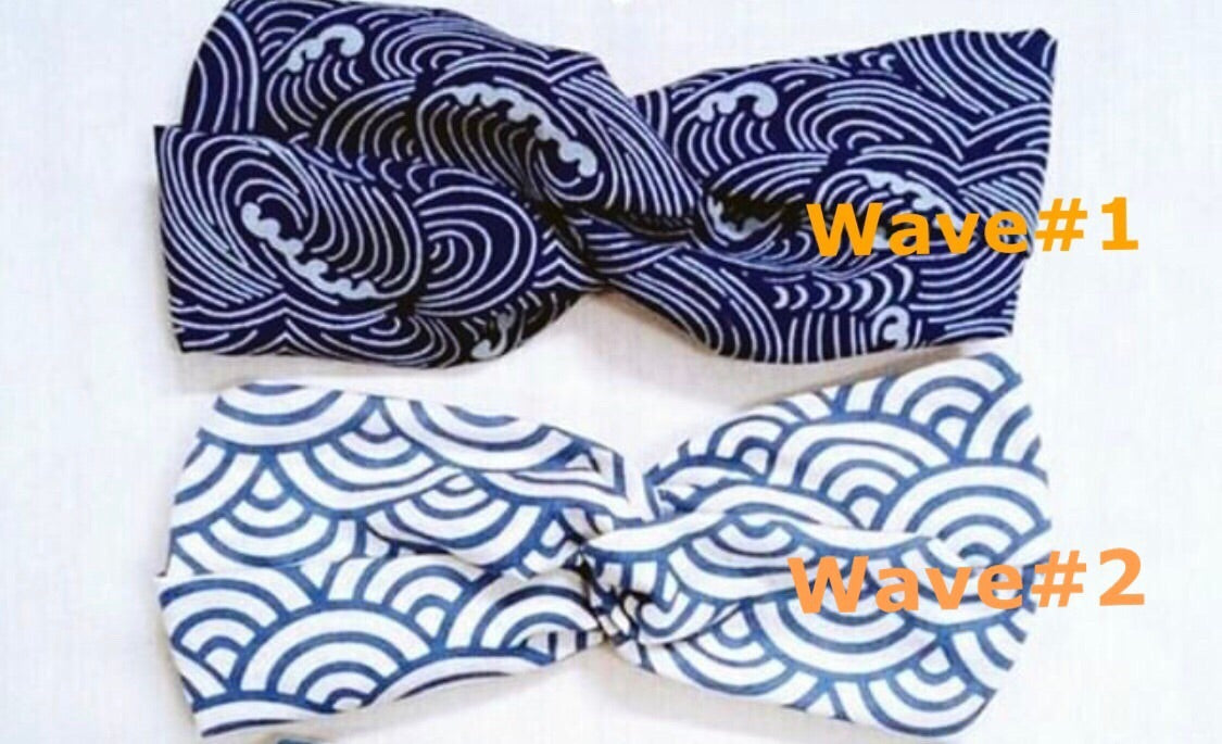 Indigo Dyed Turban Headband- Waves