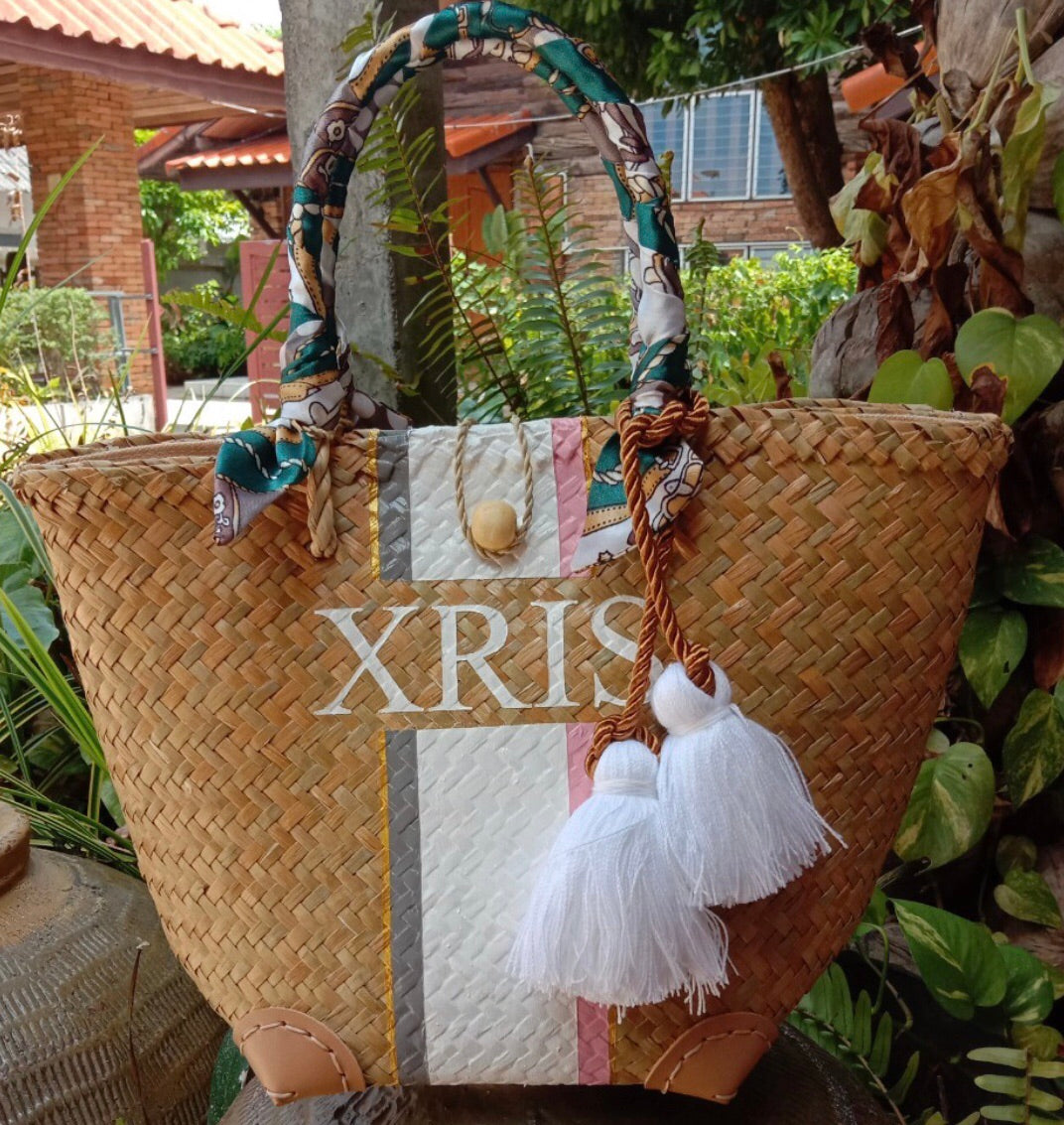 Dori Personalised Wicker Bag - Medium Tote Without Accessories
