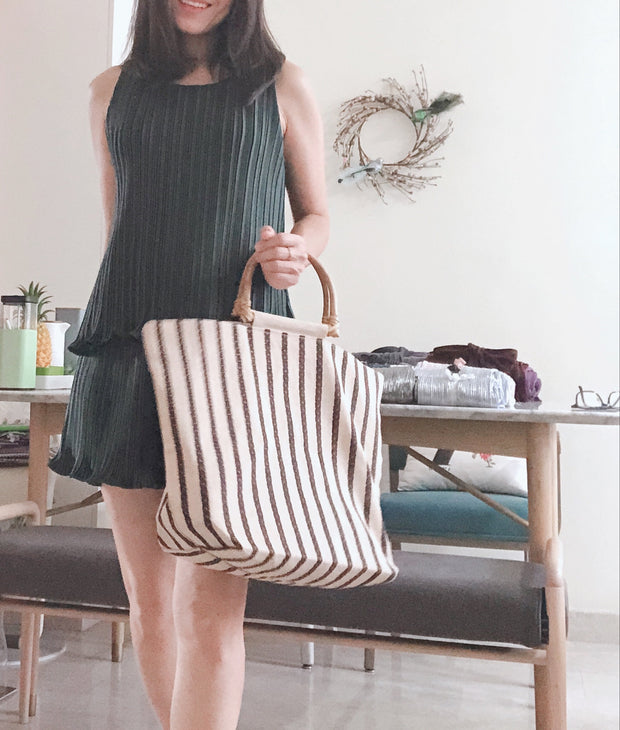 Rattan Stripe Bag (Ready Stock)
