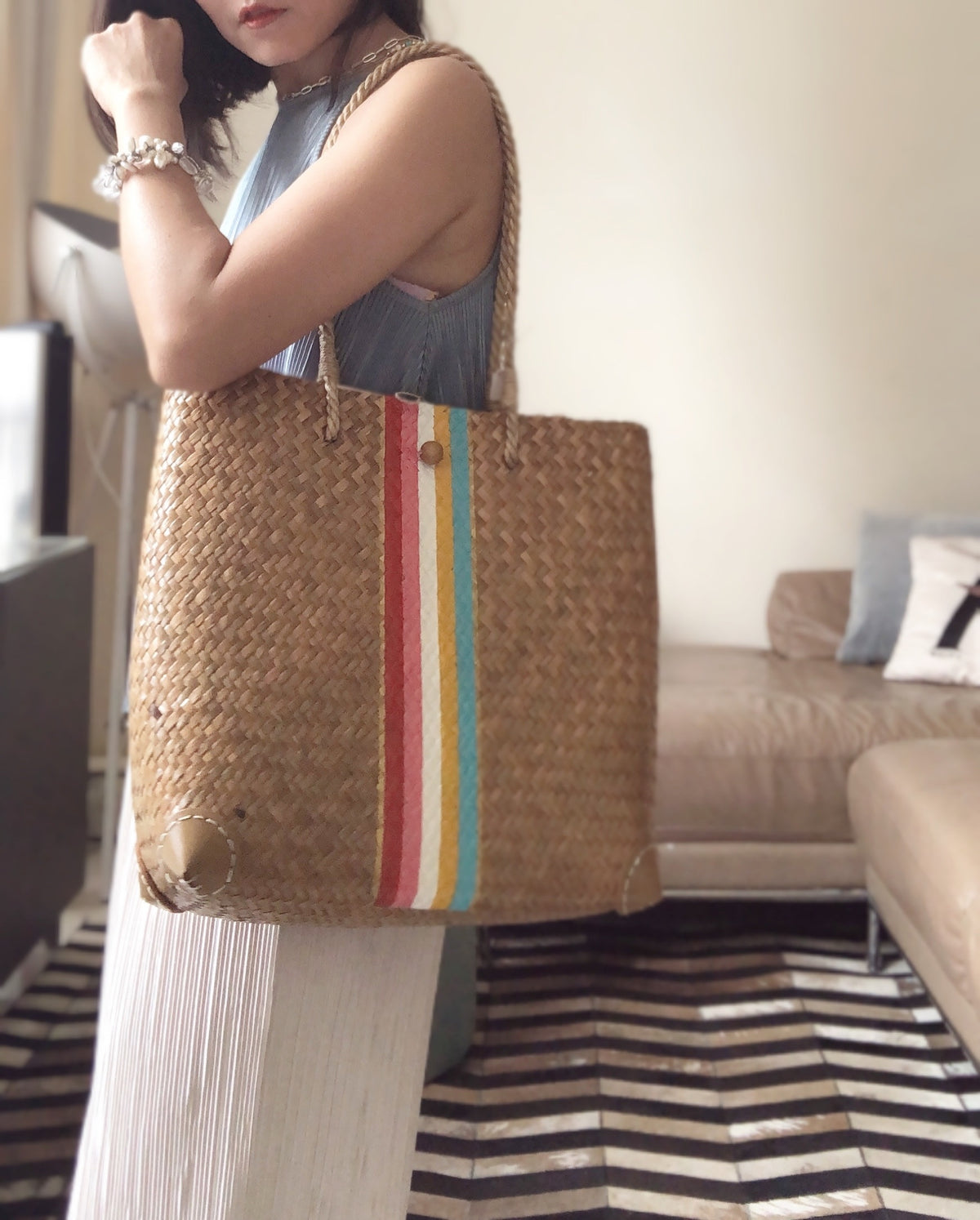 "(Ready Stock) Rainbow Top Zip Shoulder Bag (10% off with code ""bag10"")"
