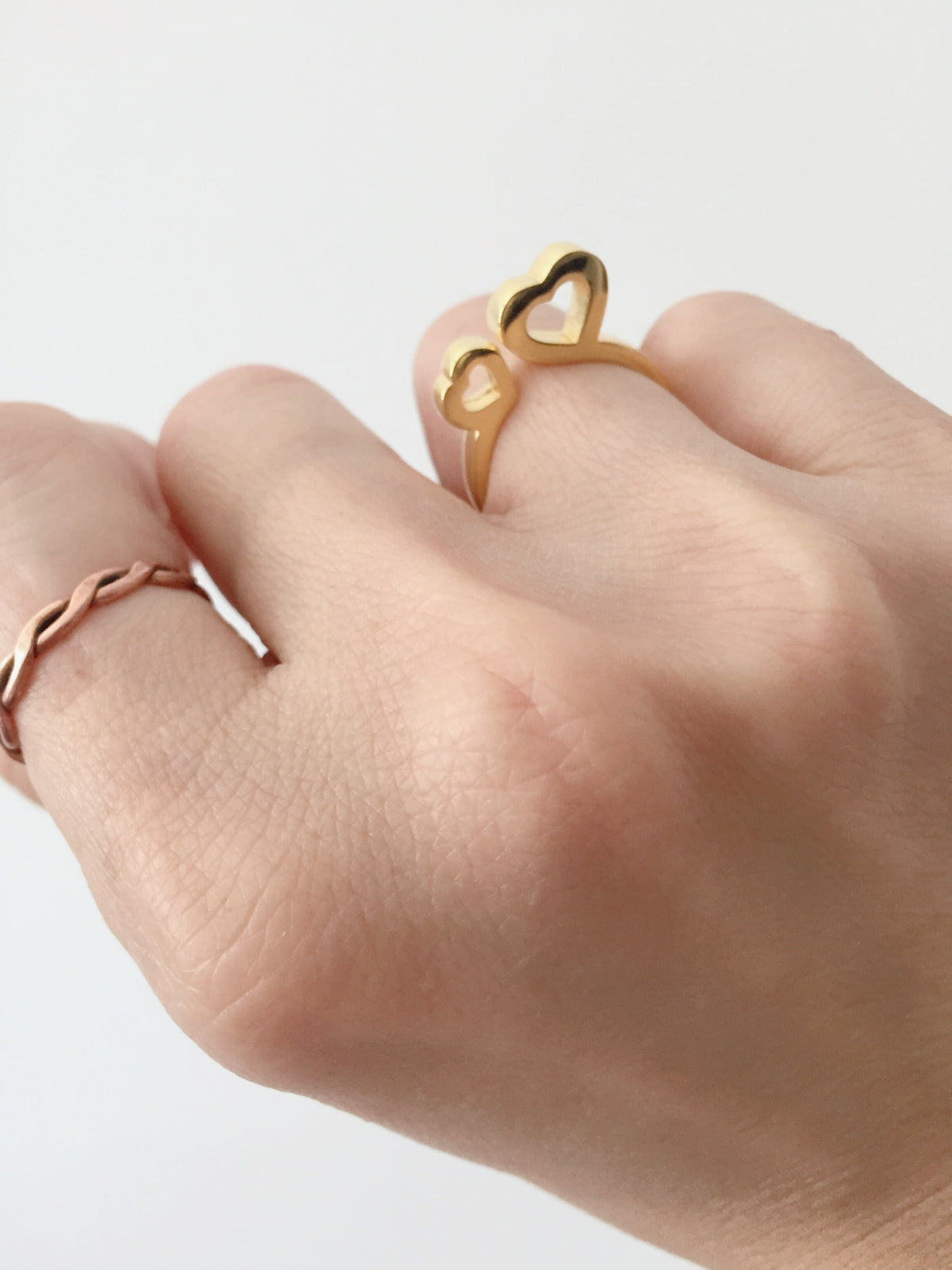 (1st Restock) Double Heart Brass Ring