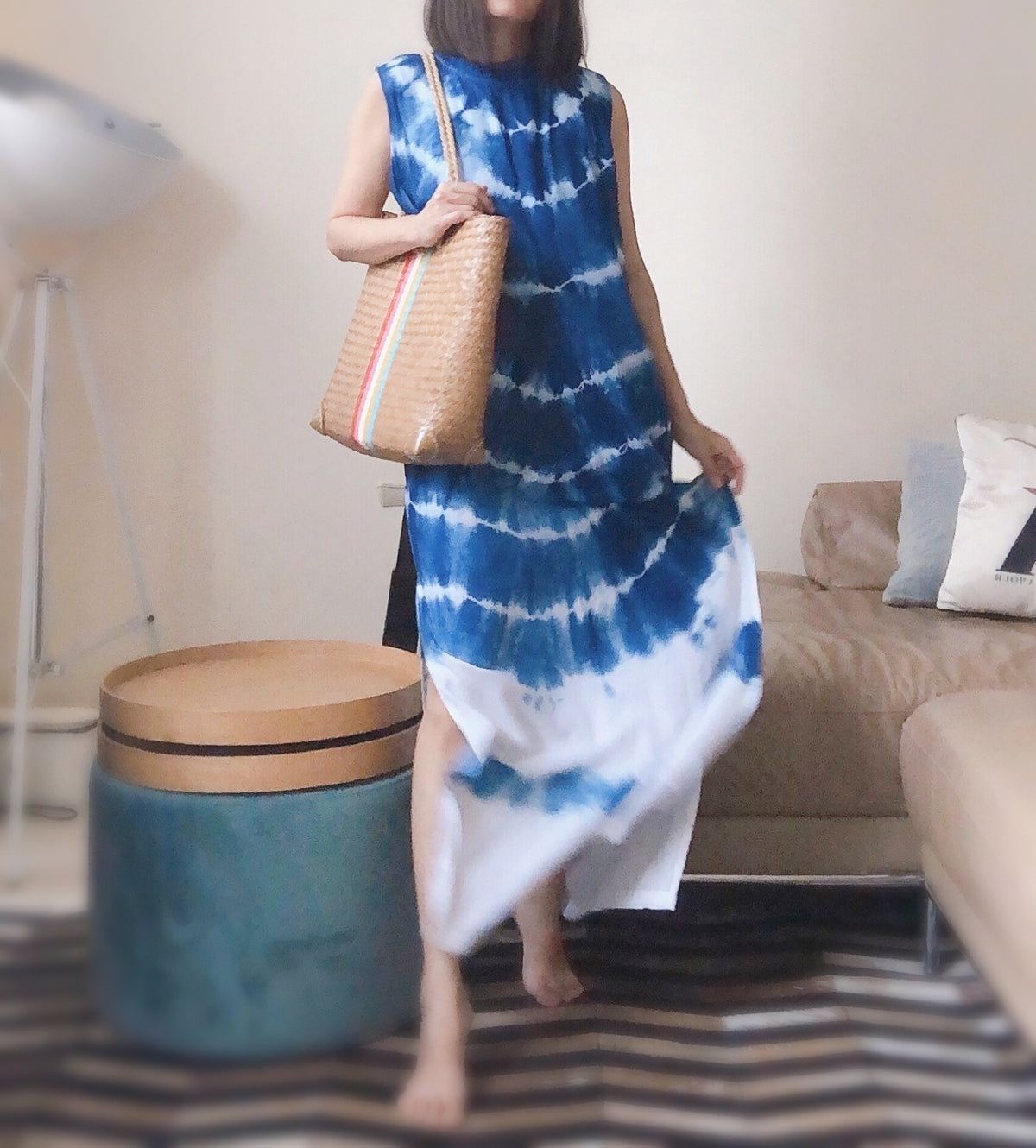 "Ready Stock Hand Dyed Indigo Wave Maxi Dress (Enter code ""happyclothing"" to get 15% off)"