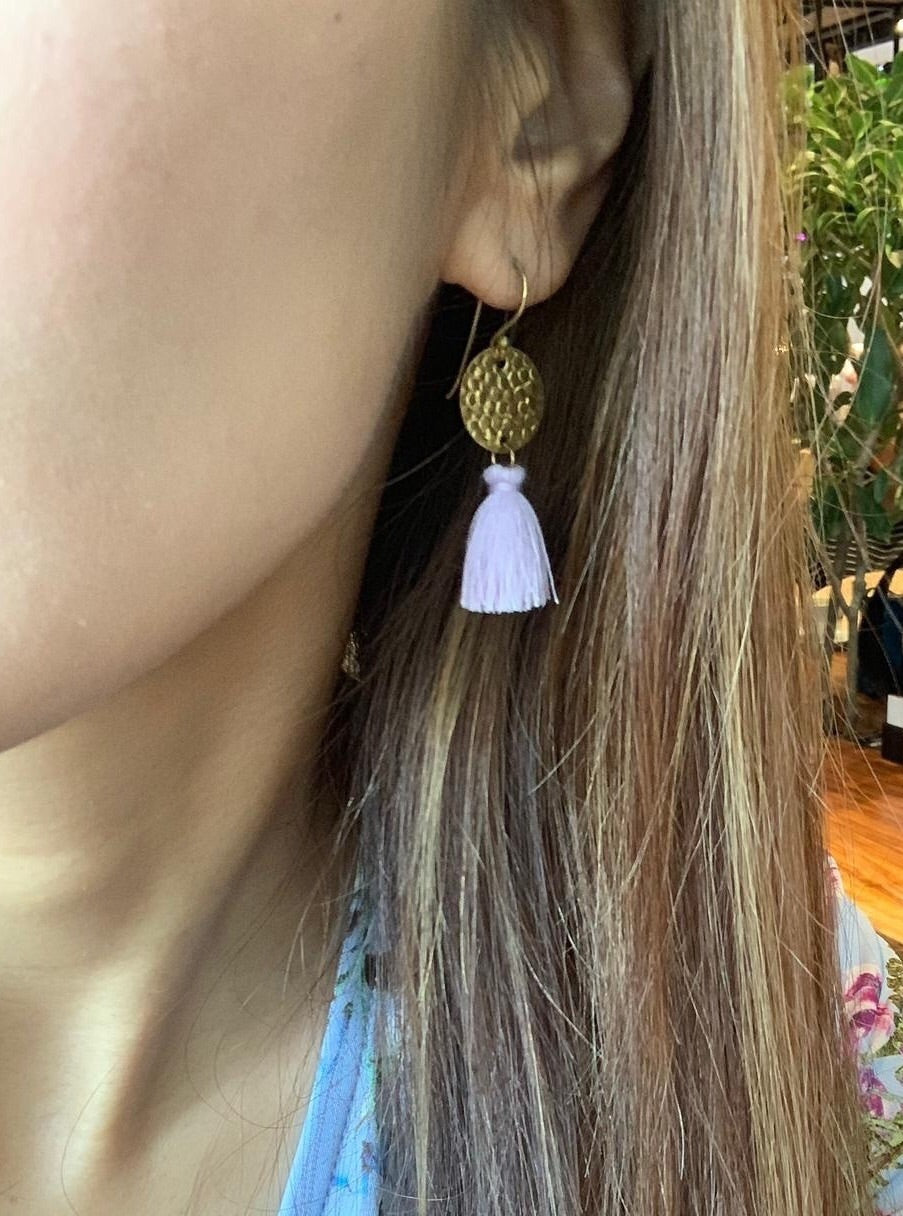 Lin Tassel Earrings with Round Brass Disc