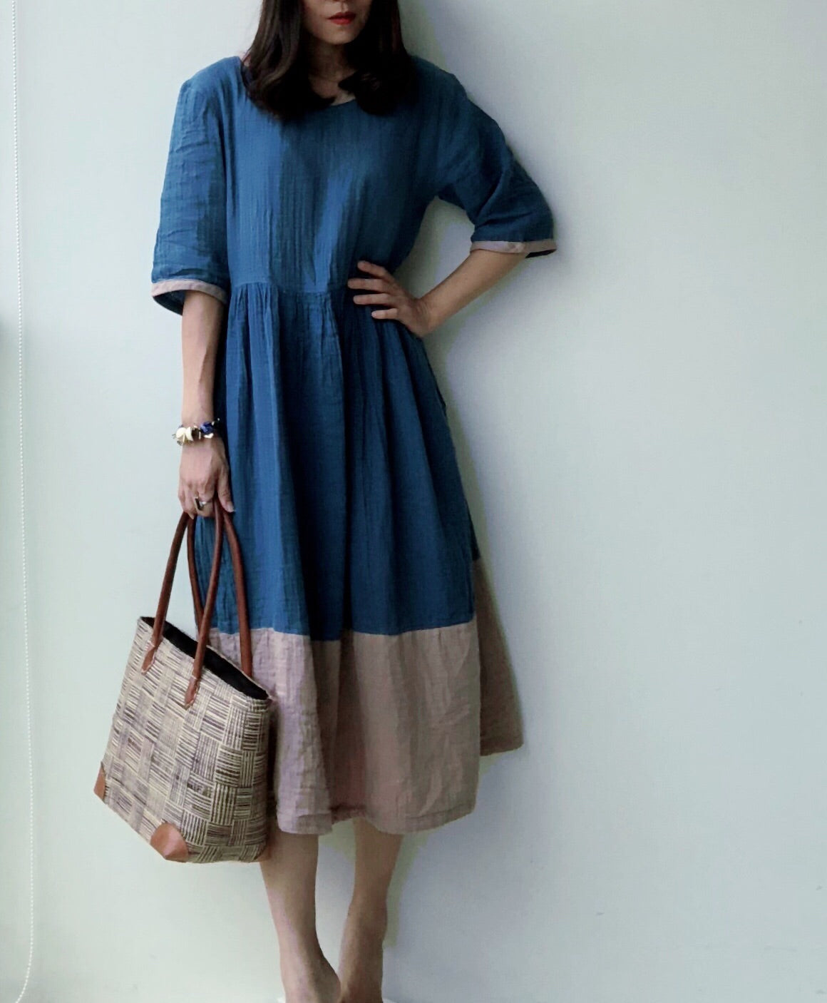 Renee Indigo Dyed Two Toned Dress (Free Size)