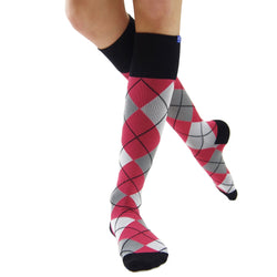 Argyle 20/30 Red Black Compression Socks