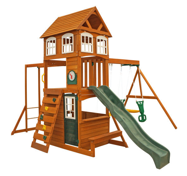 Cedar Summit Cranbrook Swing Set W Glider Monkey Bars By Kidkraft