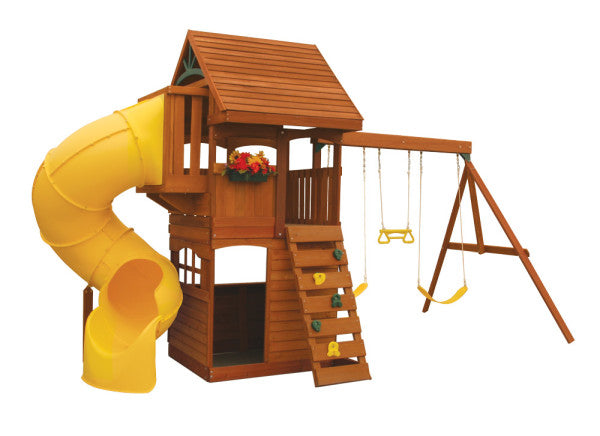 Cedar Summit Grandview Deluxe Swing Set W Tube Slide By Kidkraft
