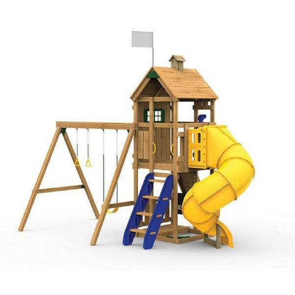 Playstar Trainer Gold Factory Built Wooden Playset Wspiral Tube Slide