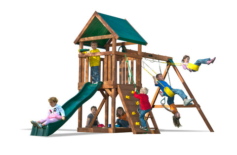 Kids Creation High Flyer Value Cedar Swingsets W/Canopy And Monkey Bar 1 |  The