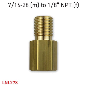 "Adapter 7/16-28 (m) to 1/8"" NPT (f)"