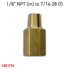"Adapter 1/8"" NPT (m) to 7/16-28 (f)"