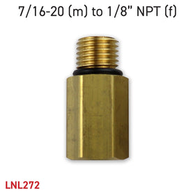 "Adapter 7/16-20 (m) to 1/8"" NPT (f)"