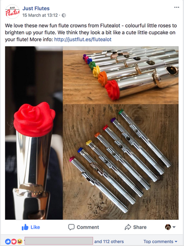 JustFlutes facebook page launching the flutealot stoppers in their London shop