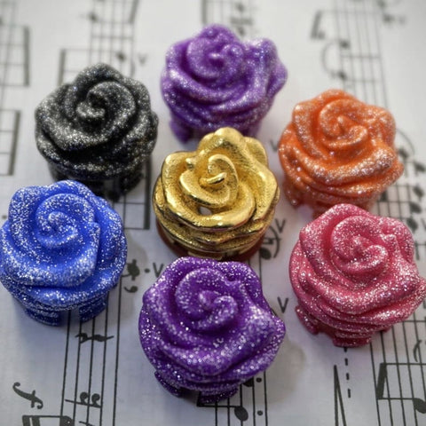 @flutealot coloured and sparkly rose design flute crowns
