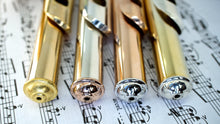 4 Flute Crowns from left to right Polished Gold Steel, 18k Rose Gold Plated Brass, Rhodium Plated Brass, and Sterling Silver