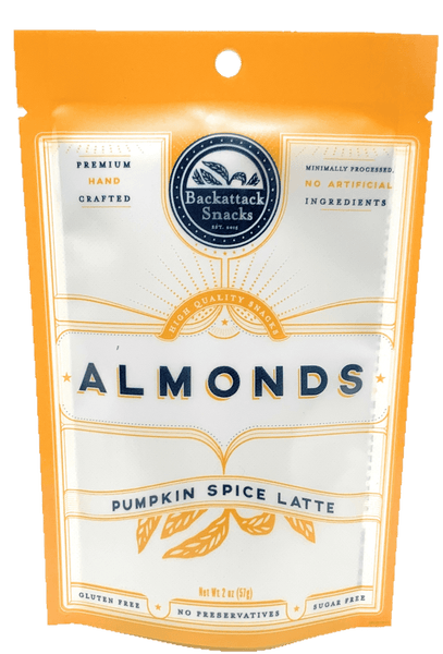 Pumpkin Spice Latte Flavored Almonds 2oz packs - Backattack Snacks