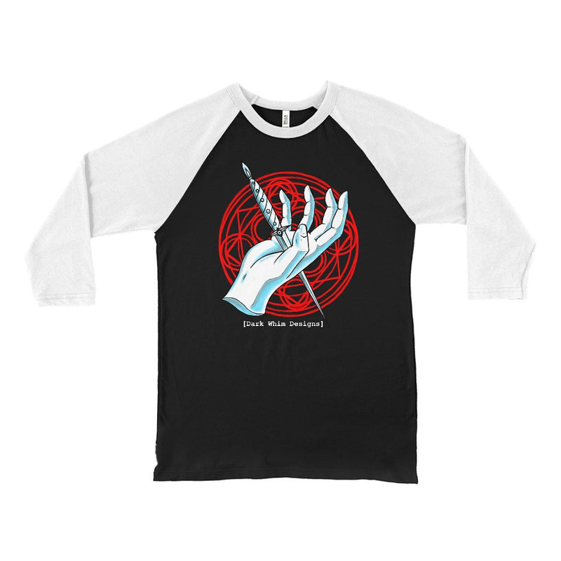"""Dagger in Hand"" Unisex 3/4 Sleeve Black Baseball T-Shirt"